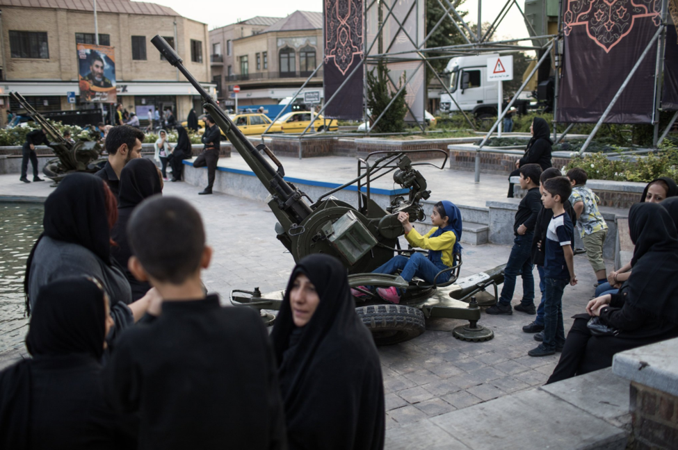 The Iranian government has brought out missiles and other weapons, such as the anti aircraft guns in the picture above, to allow citizens to pose for photos (Photo: CreditArash Khamooshi, The New York Times)