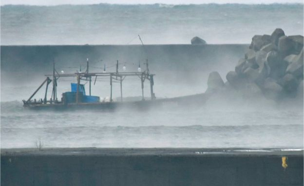 A 'ghost-ship' found on the coast of Japan (Source:  BBC World News )