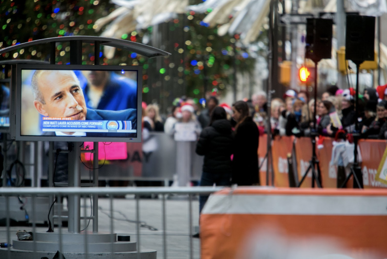 "Matt Lauer on a monitor in Rockefeller Plaza during the ""Today"" show broadcast last Thursday morning. Source: Sam Hodgson - The New York Times"