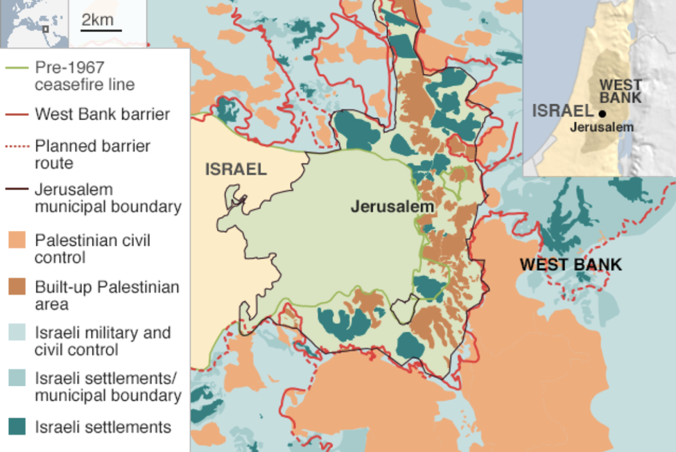 A graphic which depicts former and current borders in Jerusalem, including Palestinian territories and those territories occupied by Israel. (Source: B'Tselem)