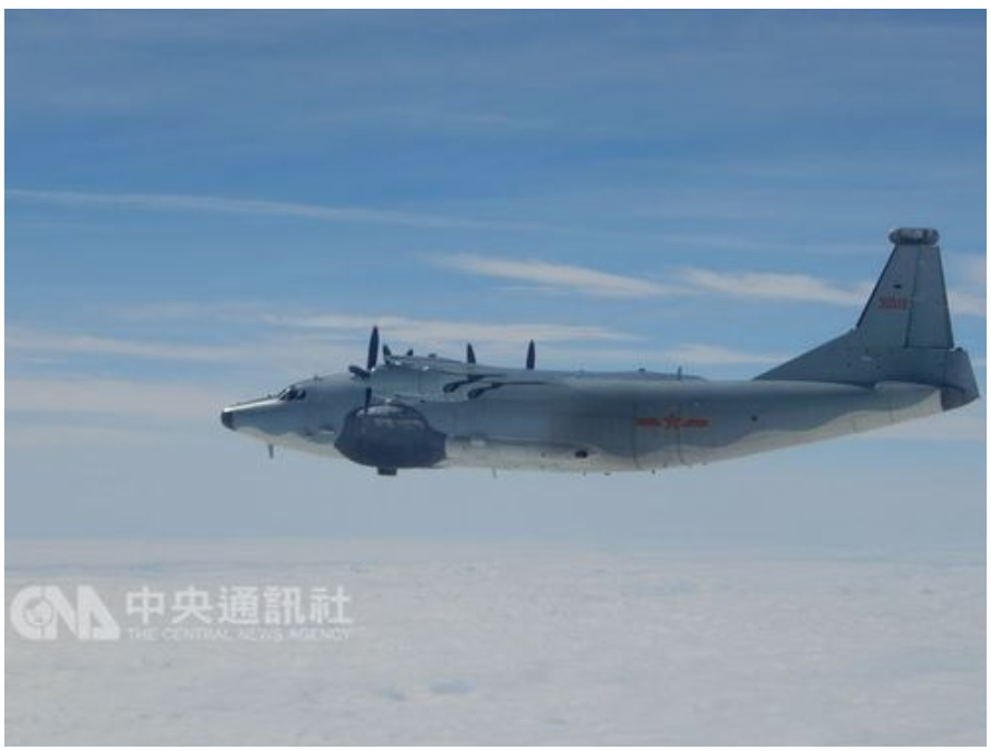 A PLAAF Shaanxi Y-8 transport plane in flight in this undated photo. (Source: CNA/Ministry of National Defense)