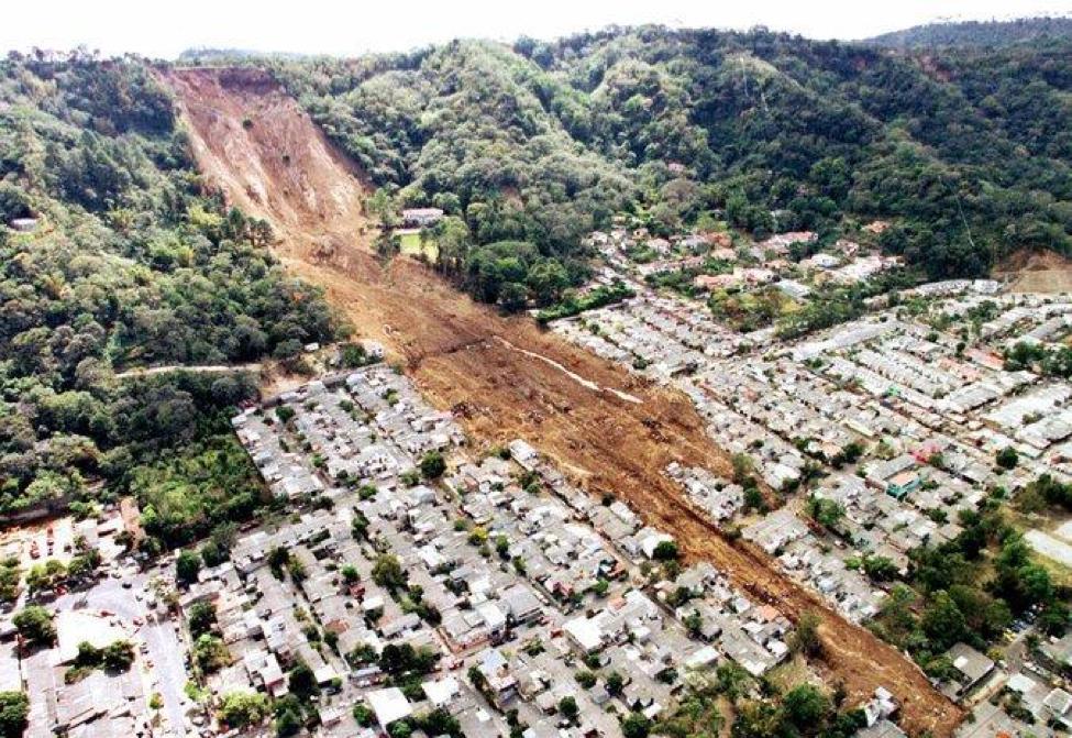 A January 2001 earthquake caused this landslide in Santa Tecla, El Salvador. Credit La Prensa Grafica, via Associated Press