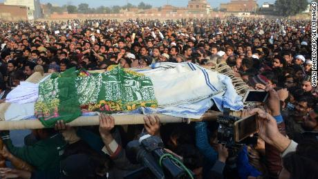 (People gather at Zainab's funeral on Thursday; Credit: CNN, January 11th, 2018)