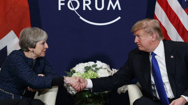 US President Donald Trump with UK Prime Minister Theresa May at the World Economic Forum 2018, Davos  (Source: Google Images)
