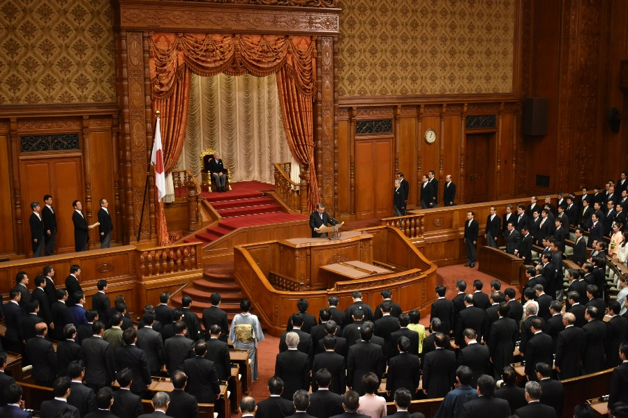 The Emperor of Japan presides over the opening ceremony of the 196th session of the National Diet held in the House of Councillors on Jan. 22, 2018. (Source: The House of Representatives, Japan)
