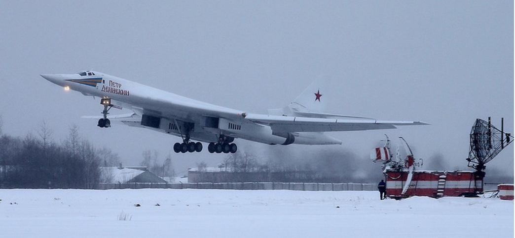 "[An undated photo showing a ""modernized Tupolev-160 jet."" Photo: Marina Lysteva/TASS]"