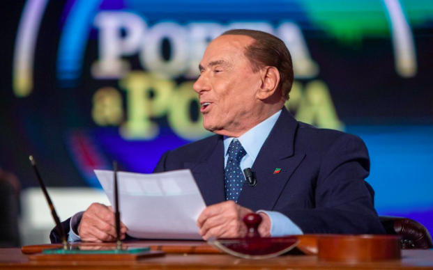 Berlusconi talking about his hair growth and other issues at an interview. (The Telegraph/Alessia Pierdomenico/Bloomberg)