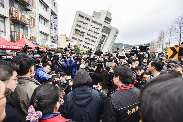 Taiwan's President Tsai Ing-wen (center) fields questions from media during her visit to Hualien on Feb. 7, 2018. Photo: Office of the President, Republic of China (Taiwan)