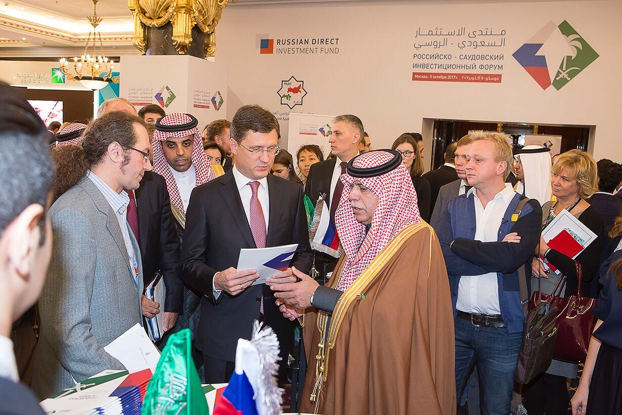 Majid Bin Abdullah Al Qasabi, Commerce and Industry Minister of Saudi Arabia with Russian Energy Minister Alexadar Novak and other significant personalities discussing the Russian Direct Investment Fund  (Source:  Invest Saudi   )