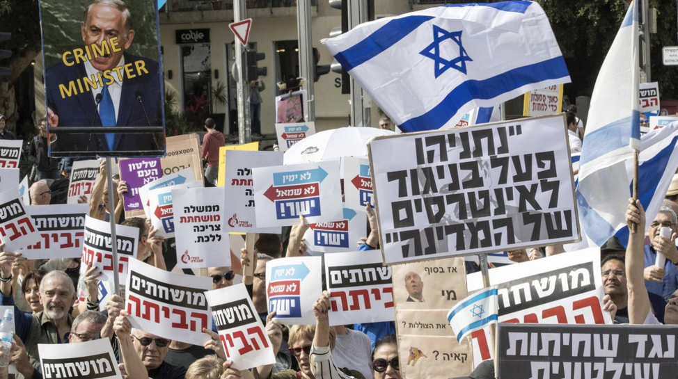 Israelis critical of Netanyahu stage protests on February 16, 2018. From: http://www.latimes.com/world/middleeast/la-fg-israel-corruption-arrests-20180218-story.html