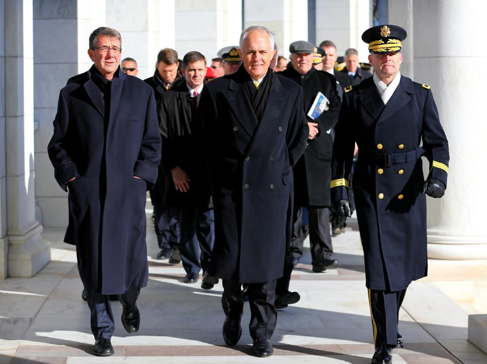 (Prime Minister Turnbull visits a war cemetery in Virginia during his visit to the US to talk with then president, Obama. Source: The Daily Telegraph)