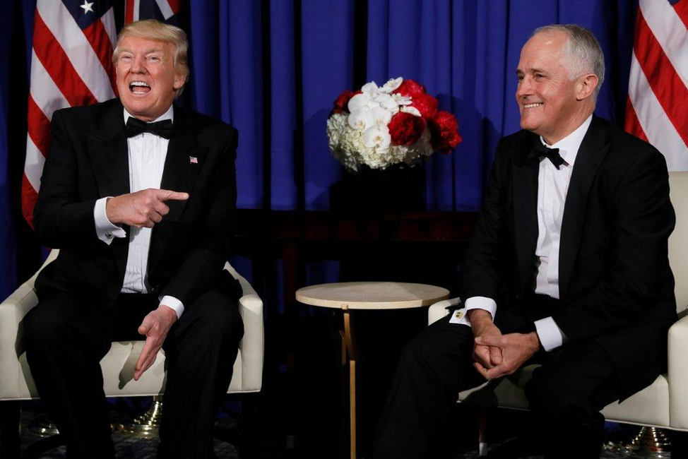 (PM Turnbull and President Trump meet in New York in May 2017. Source: Reuters)