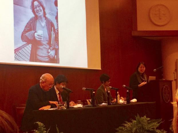 (From left to right): Charles J. Hanley, Dong-Choon Kim, Monica Kim, Christine Hong