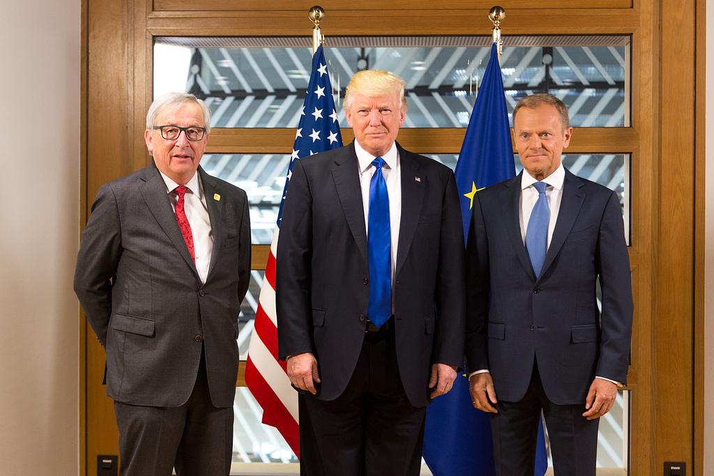 US President Donald Trump meeting with European Commission President Jean-Claude Juncker and European Council President Donald Tusk in May 2017. Source:  Shealah Craighead/US-UK Embassy
