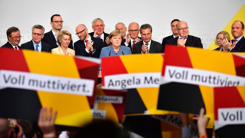 Chancellor Angela Merkel greets supporters at a campaign rally during the 2017 election campaign. Photo: AFP