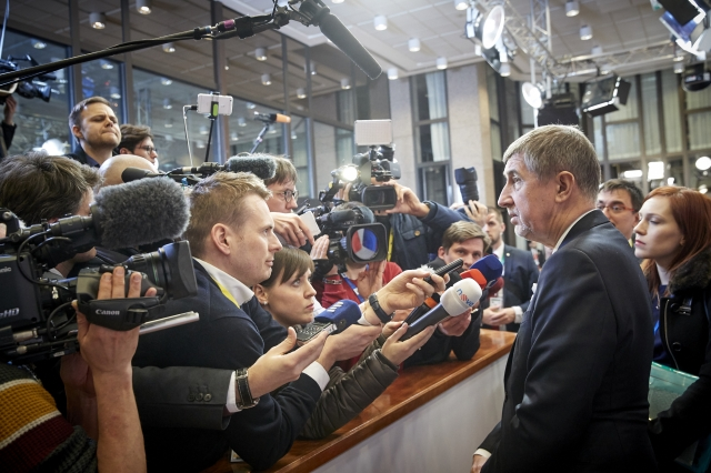 [Prime Minister Andrej Babis of the Czech Republic hosts a press briefing at the European Council roundtable held in Brussels on Mar. 22, 2018. Photo: European Union]