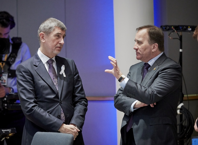 [Prime Minister of the Czech Republic Andrej Babis (left) talks to Prime Minister of Sweden Stefan Lofven at the second day of an European Council roundtable in Brussels, Belgium, on Mar. 23, 2018. Photo: European Union]