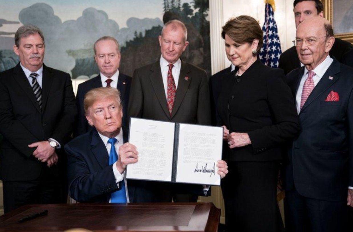 President Trump announced the tariffs in the Diplomatic Room of the White House on Thursday, March 22. Credit Doug Mills/The New York Times