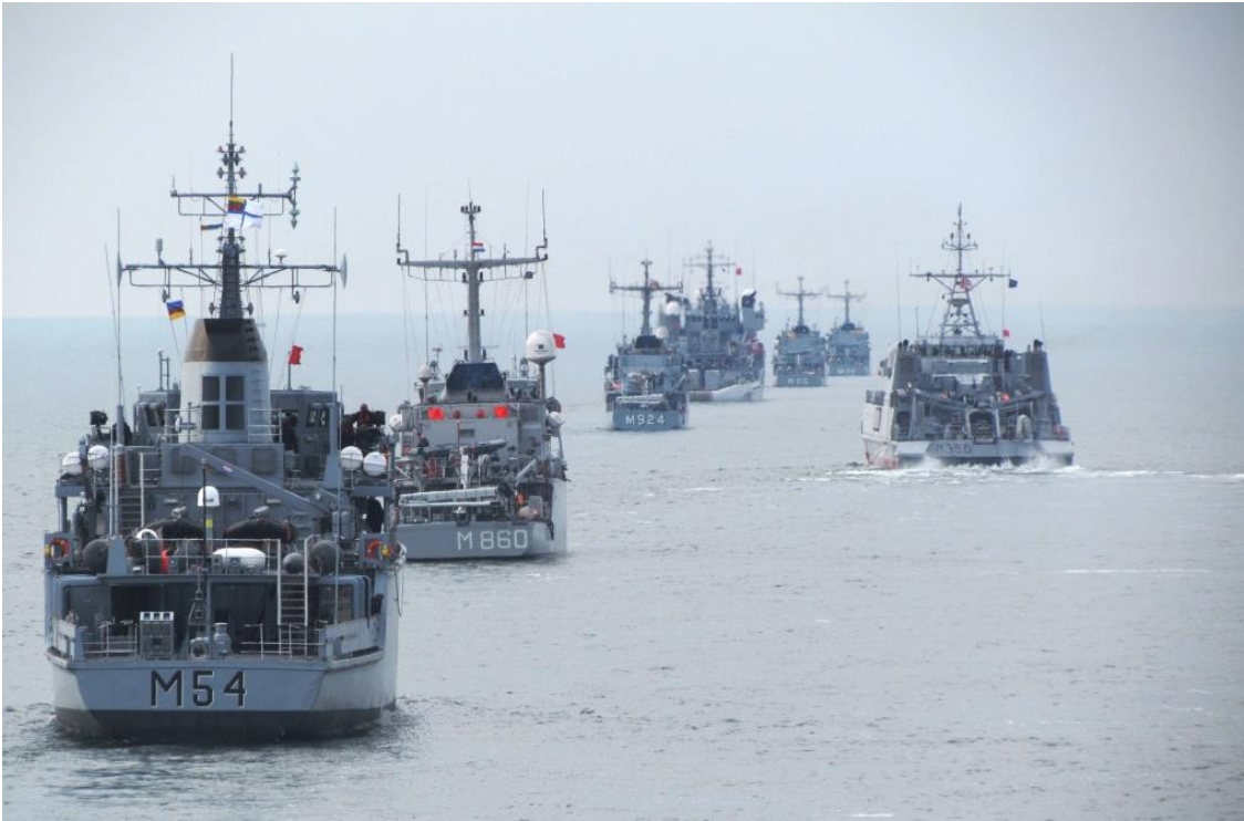 [Baltic Naval Squadron (BALTRON) ships from Estonia, Latvia, and Lithuania during the Baltic Fortress 17 maritime exercises in Estonian territorial waters in May 2017. Photo: Lithuanian Navy]