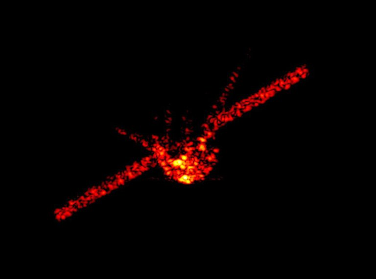 [A radar image of Tiangong-1 taken at an orbital height of approximately 270 kilometers (167.8 miles or 885,827 feet) above the Earth's surface on Mar. 21, 2018. Photo: Fraunhofer Institute]