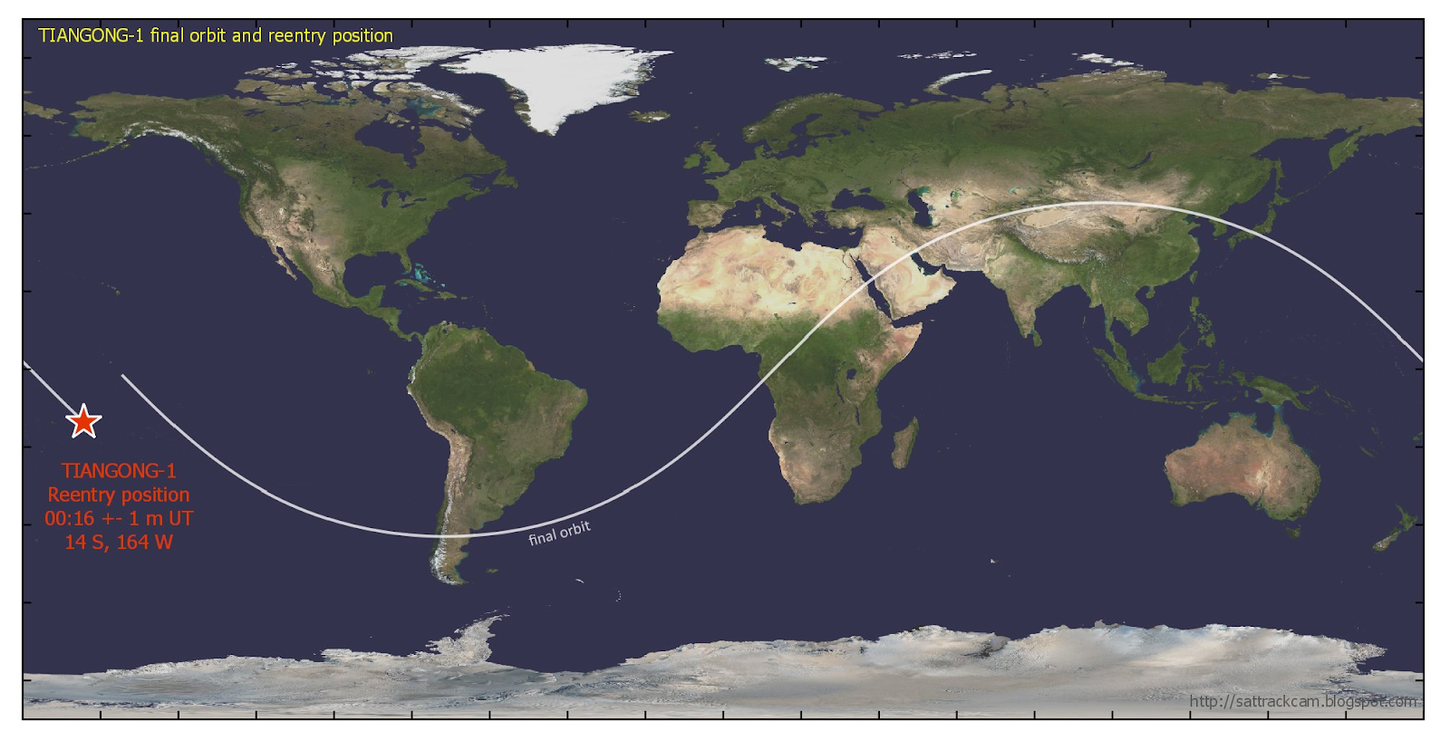 [The final orbit and re-entry position of Tiangong-1, according to the United States Joint Force Space Component Command. The waters near the re-entry position are claimed by American Samoa and Tahiti. Photo:  Dr. Marco Langbroek  / US Joint Force Space Component Command]