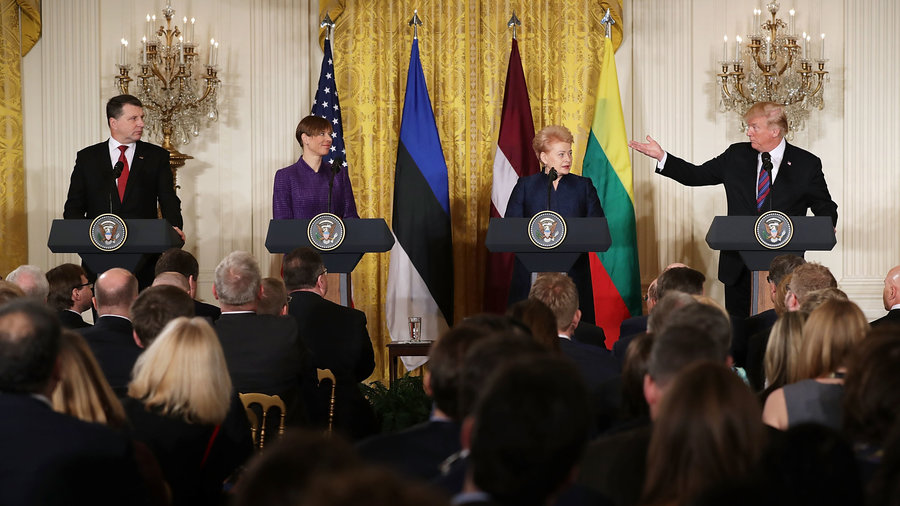 Tuesday April 4, 4 pm. Left to right: Latvian President Raimonds Vejonis; Estonian President Kersti Kaljulaid; Lithuanian President Dalia Grybauskaite; and U.S. President Donald Trump. Leaders hold a joint press conference in the East Room of the White House. (Source:  NPR )