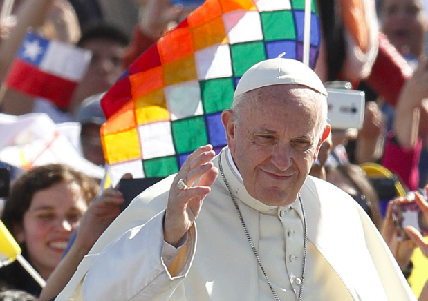 Pope Francis greets the crowd in Chile, Jan. 17 (American Magazine)
