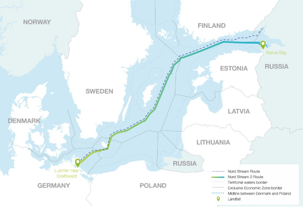 [A map of the Baltic Sea depicting countries' claims (territorial waters and exclusive economic zones) along with the route of Nord Stream 1 and the proposed route of Nord Stream 2. Credit: Bloomberg]
