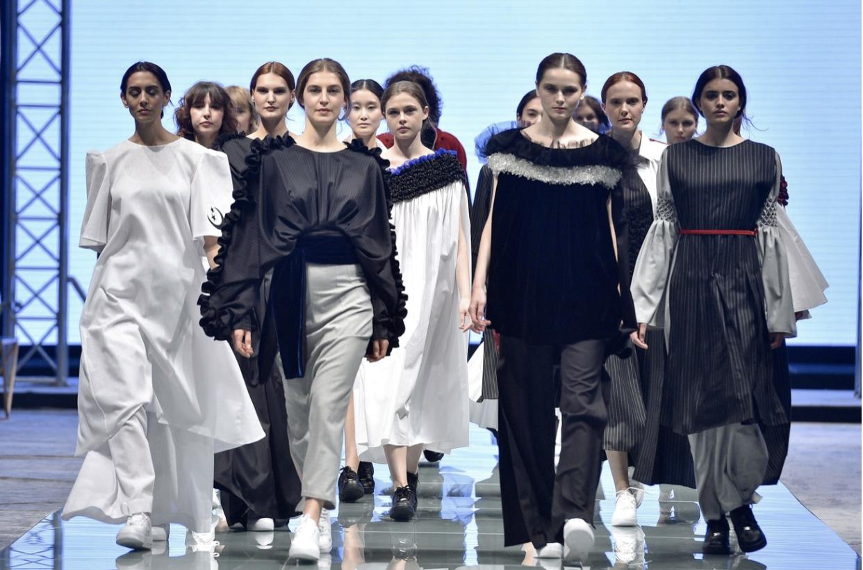 Designer Mashael Alrajhi's finale at Arab Fashion Week Riyadh. from: https://www.vogue.com/article/saudi-arabia-first-fashion-week-riyadh