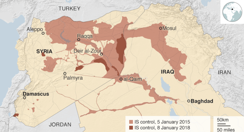 Photo : Map of how the Islamic State's territory has diminished from 2015 to 2018.
