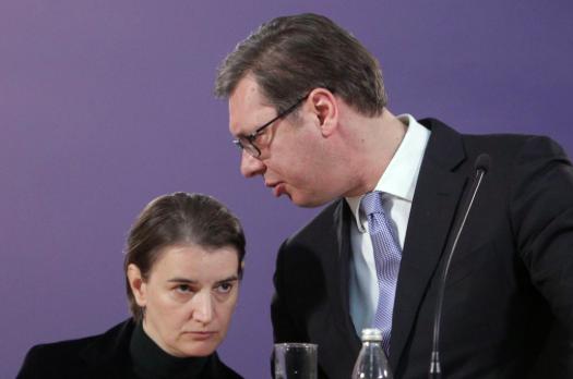 [File photo of Serbian Prime Minister Ana Brnabic (left) and Serbian President Aleksander Vucic. Photo: Andrej Cukic (EPA-EFE)]