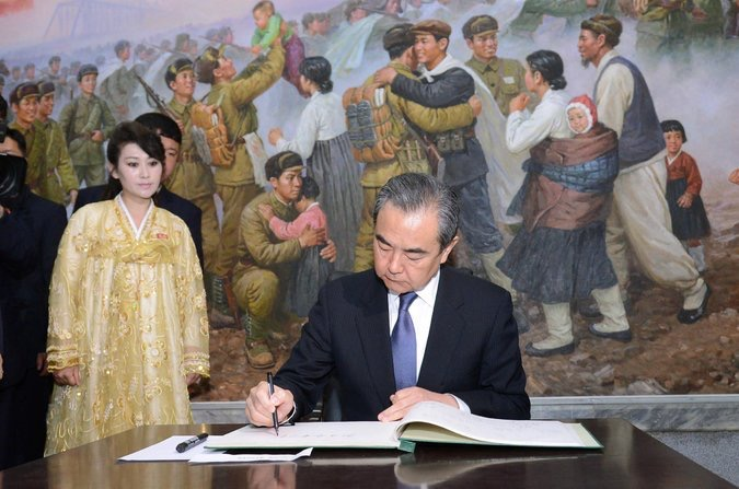 (Photo: China's foreign minister Wang Yi on his visit to Pyongyang. Source:  Korean Central News Agency )