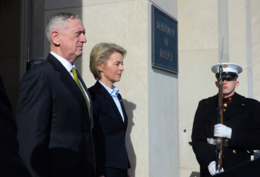 US Secretary of Defense James Mattis (left) and German Federal Minister of Defense Ursula von der Leyen (CDU) at the Pentagon on Feb. 16, 2018. Photo: AFP
