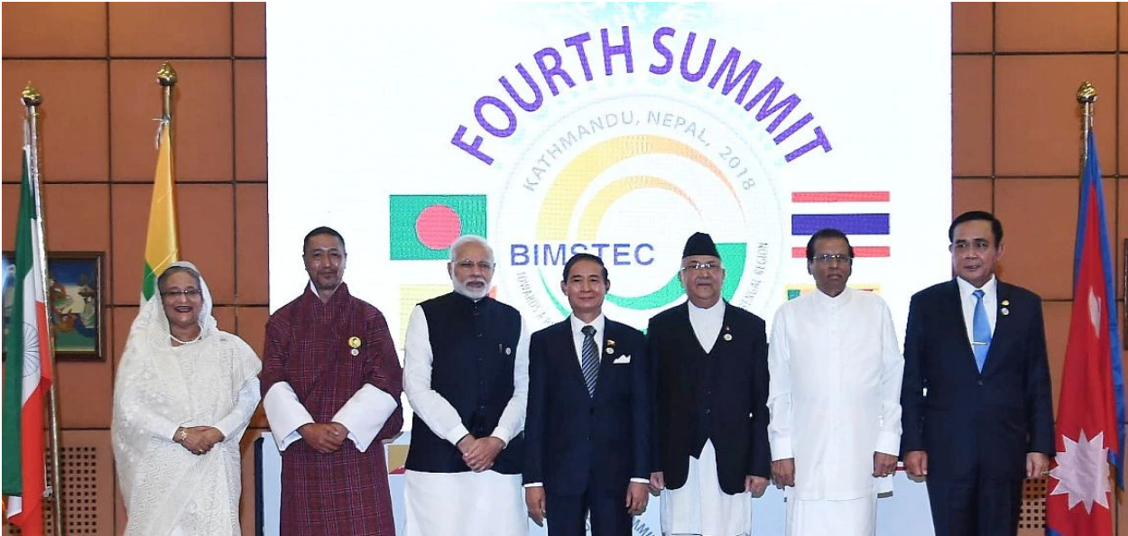 Leaders of the Bangladesh, Bhutan, India, Myanmar, Nepal, Sri Lanka and Thailand at the BIMSTEC Summit 2018 in Kathmandu.