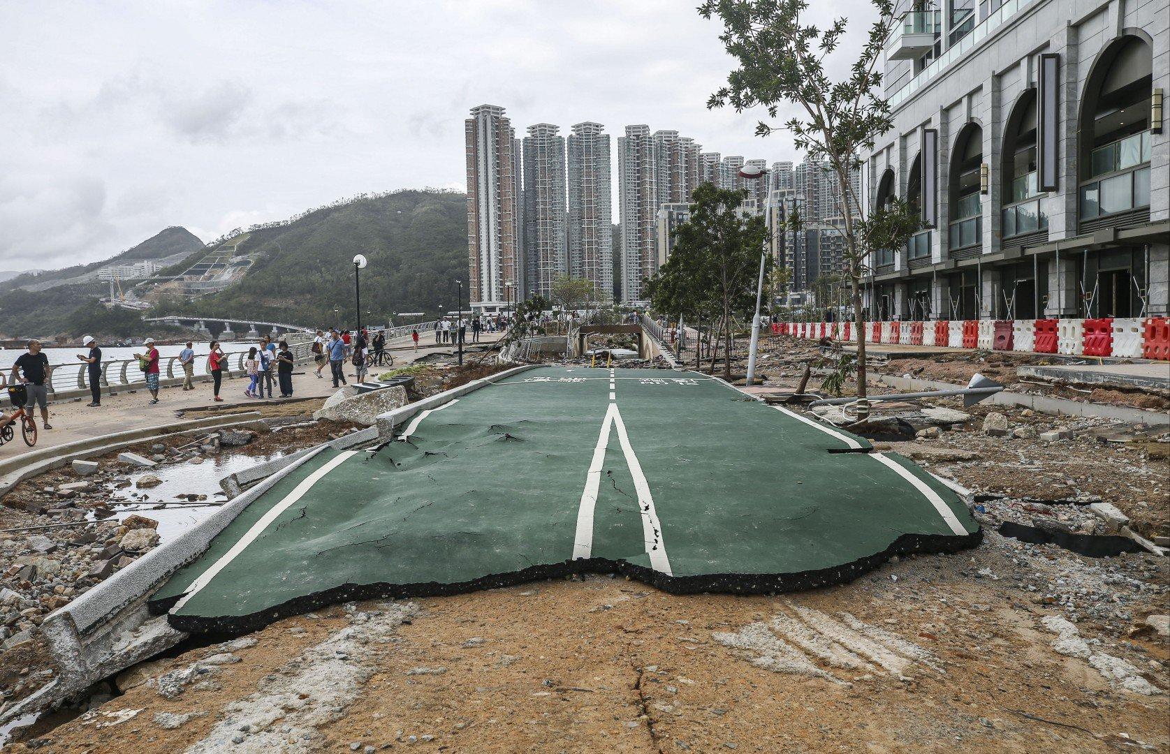 A section of devastated Tseung Kwan O Waterfront Park, adjacent to Junk Bay, located in Hong Kong's eastern Sai Kung District (Credit: Sam Tsang/South China Morning Post)