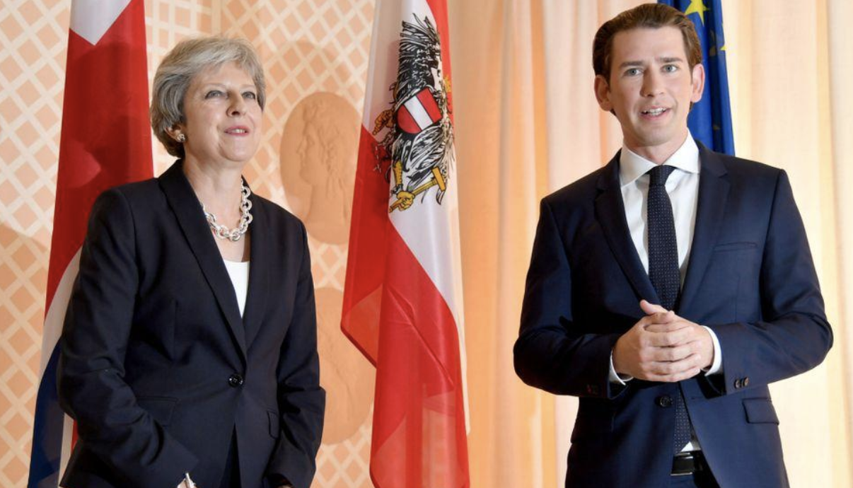 Austrian Chancellr welcomes Theresa May to EU summit. Photos:  SkyNews