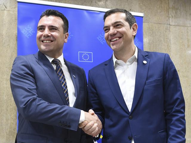 Greek Prime Minister Alexis Tsipras and Macedonian Prime Minister Zoran Zaev. Credit: EPA-EFE/VASSIL DONEV