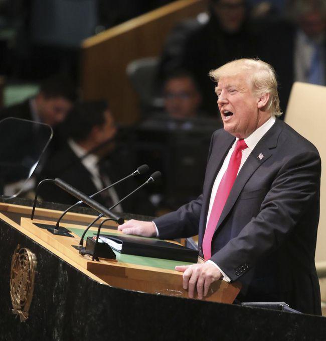 President Donald Trump addresses the 2018 UN General Assembly   Photo : Bebeto Matthews/Associated Press