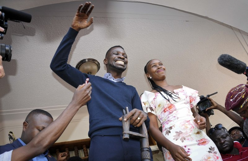 Bobi Wine at his home in Kampala following his return from the US. Photo: Ronald Kabuubi/  AP Photo