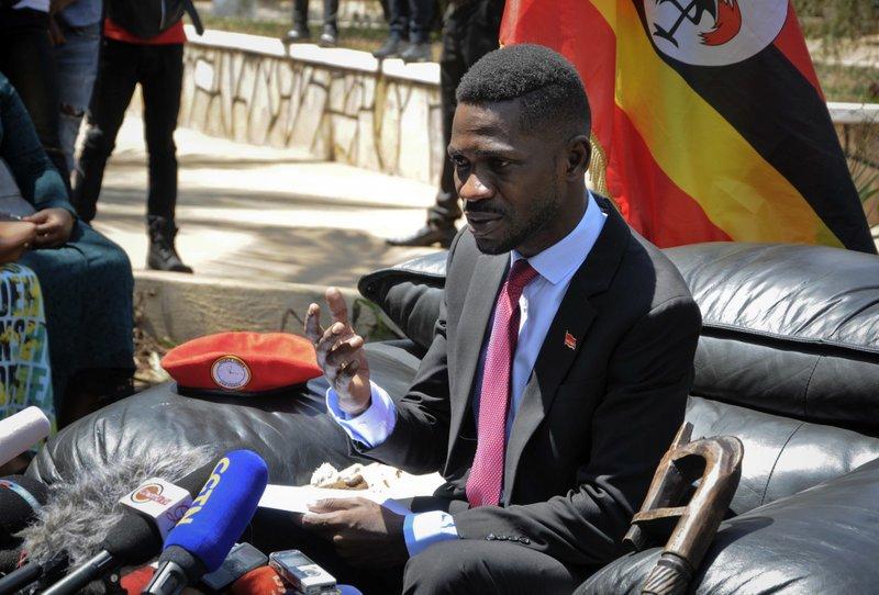 Bobi Wine meeting with the press after his return to Uganda Photo: Ronald Kabuubi/  AP Photo