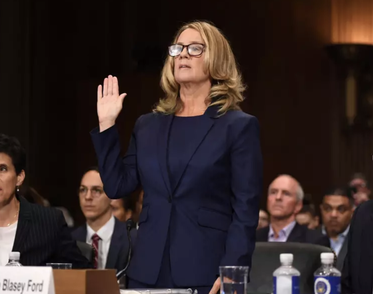Christine Blasey Ford is sworn in to give a testimony in Thursday's Supreme Court Hearing. Photo:  AP