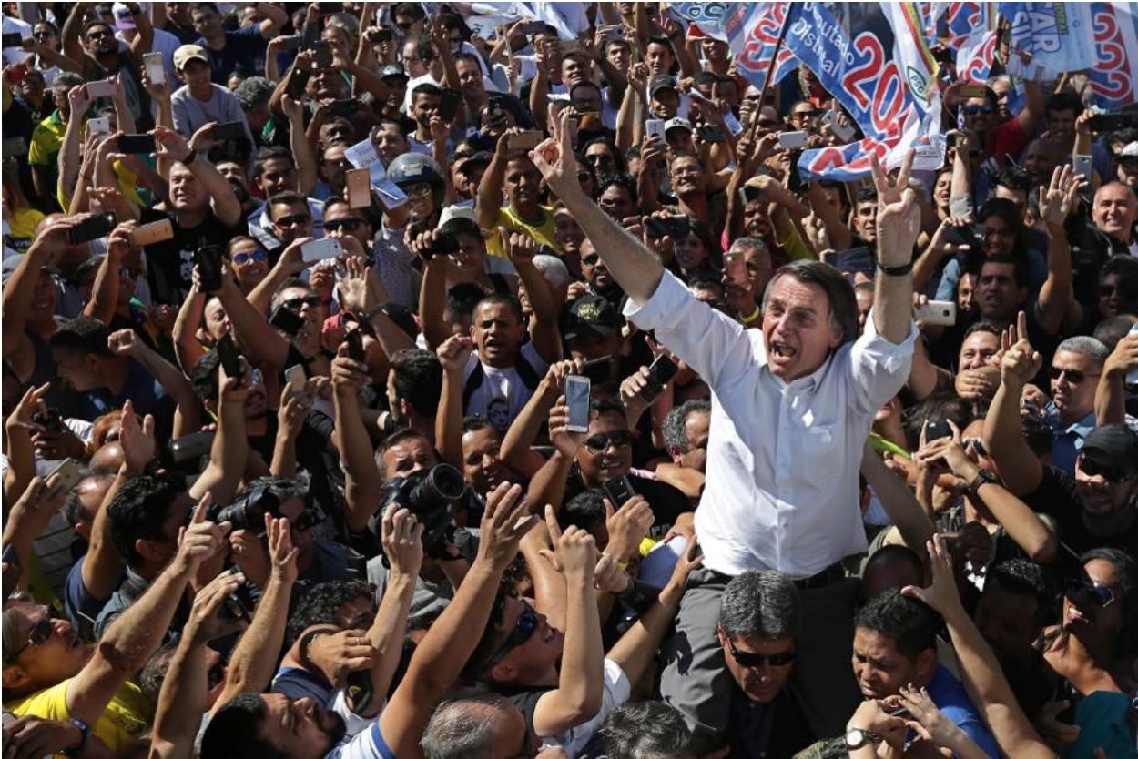 Bolsonaro on a campaign trail in Brasília. Source: AP Photo/ Eraldo Peres/  Forbes