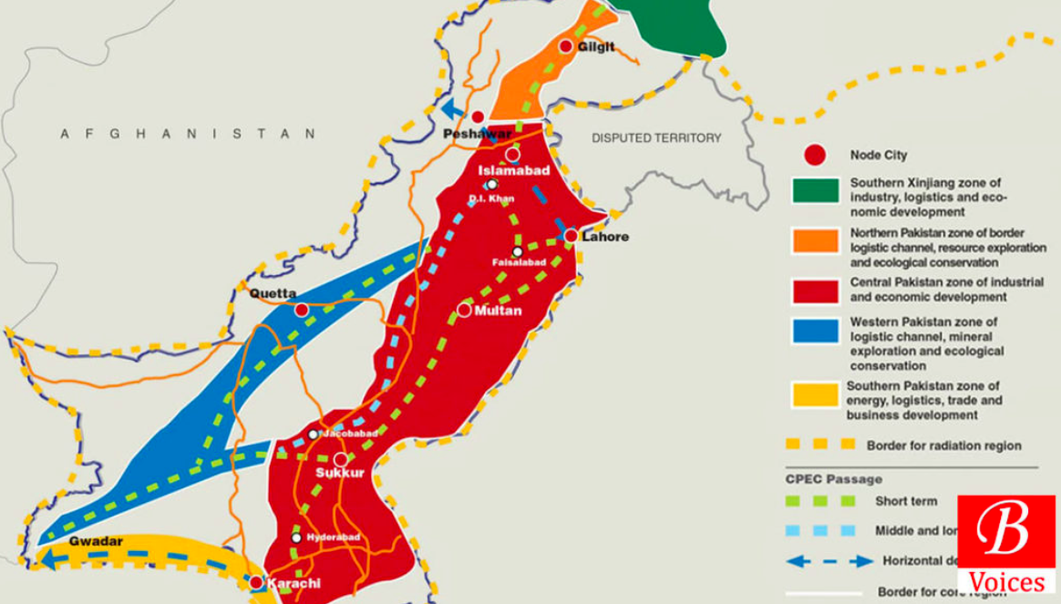 A map of the potential China-Pakistan Economic Corridor; Credit : Balochistan Voices