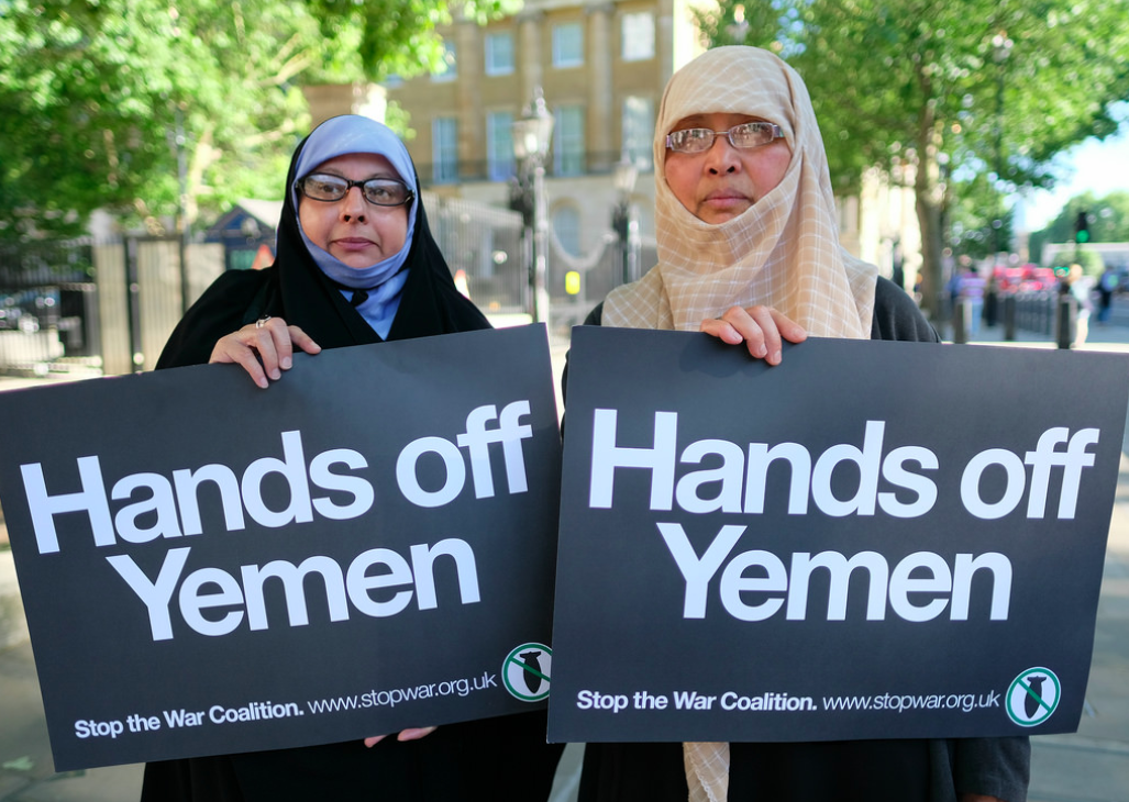 Activists in Whitehall protesting the War Coalition in Yemen on June 22, 2018. Credit:  Flickr