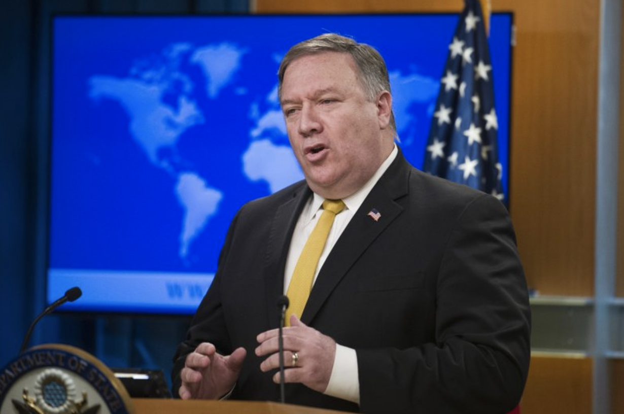United States Secretary of State Mike Pompeo briefs reporters on Wednesday, Oct. 3, 2018, on the US denunciation of the 1955 Treaty of Amity, Economic Relations and Consular Rights with Iran. Credit:  AP Photo/Cliff Owen