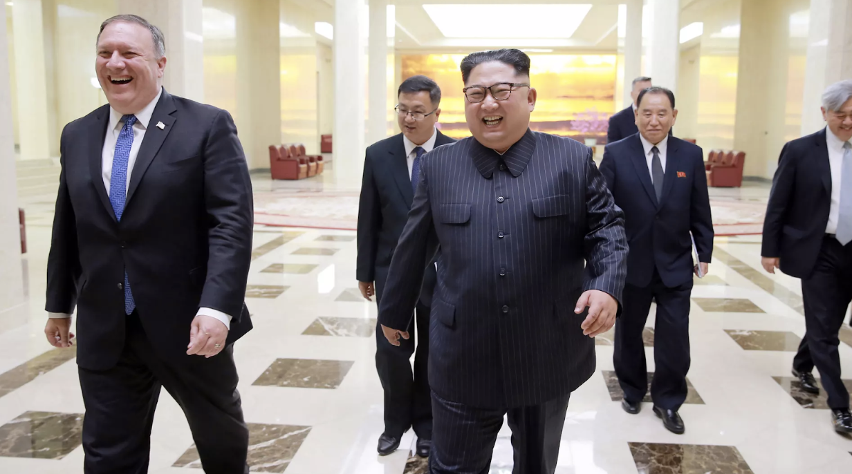 US Secretary of State Mike Pompeo (left) walking alongside DPRK Chairman Kim Jong-un in a May 2018 meeting in Pyongyang. Credit:  KCNA/EPA