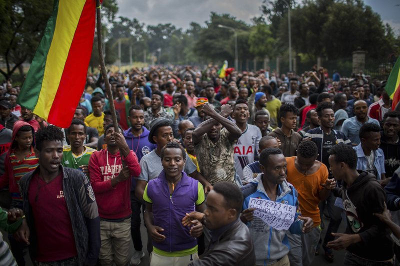 Image was taken in Addis Abba, Ethiopia following mass protests against the rising ethnic violence, the picture is from Sept. 17, 2018.  Photo: Mulugeta Ayene/AP Photo