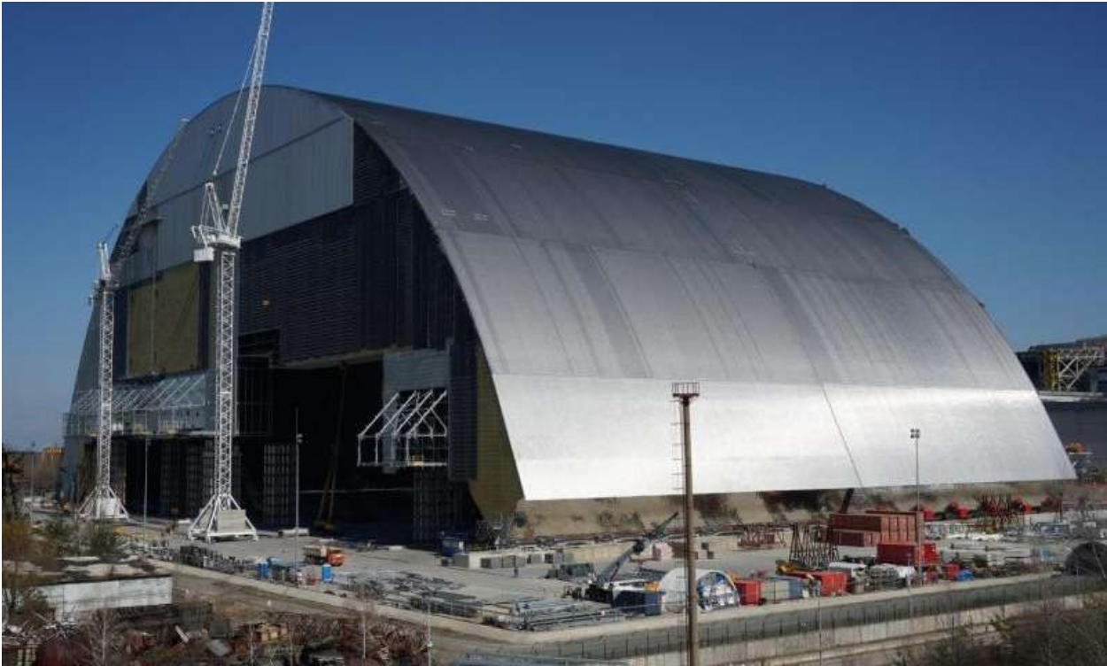 A monumental steel structure encapsulates Chernobyl's No. 4 nuclear reactor. Photo:  Pacific Northwest National Laboratory