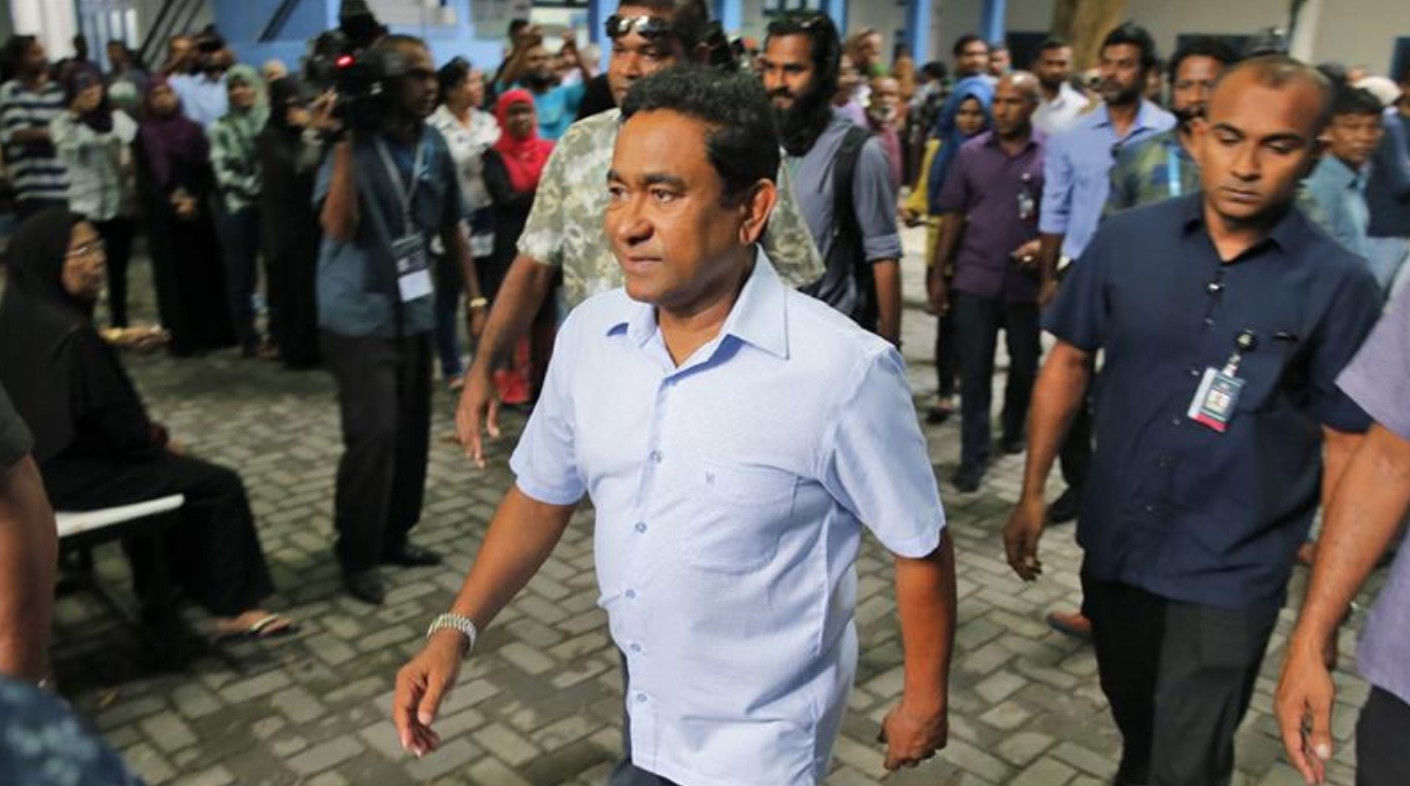 President Abdulla Yameen leaving a polling station after voting on September 23.  Photo: Eranga Jayawardena/Associated Press