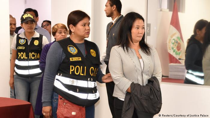 Opposition leader Keiko Fujimori being detained one week after a judge revokes her father's pardon.  Photo: Reuters